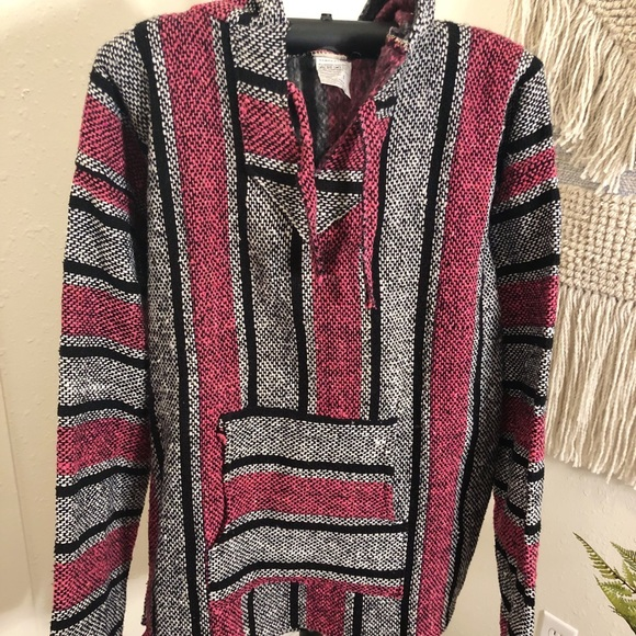 Other - Pink & Black Baja Hoodie aka Drug Rug from Mexico